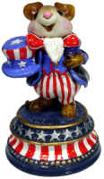 Uncle Sammy mouse in red white and blue standing on a plinth