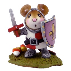 Mouse in knight costume with sword and shield