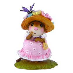 Lady mouse in summer dress withbuuterfly on her flowered hat