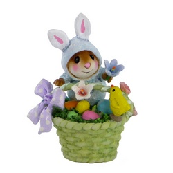Blue bunny mouse in Easter basket with chick, eggs and flowers